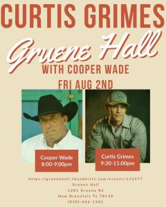 Curtis Grimes and Cooper Wade @ Gruene Hall
