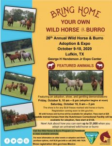 26th Annual Wild Horse & Burro Adoption & Expo @ George H Henderson Jr Expo Center