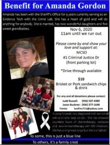 Benefit for Amanda Gordon @ Montgomery County Sheriff's Department